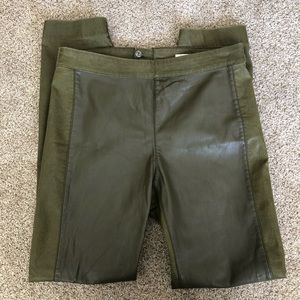 H&M green faux leather pants size 6